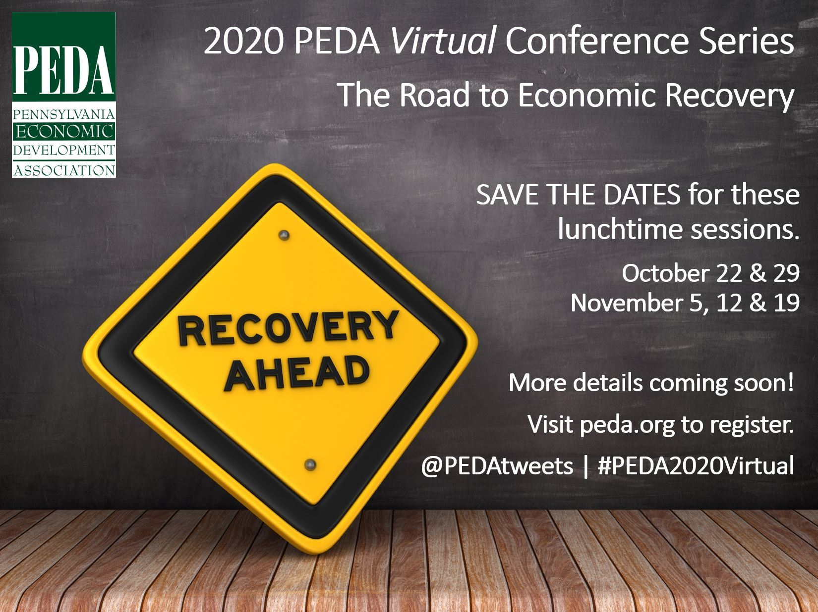This image for the 2020 PEDA Virtual Conference Series provides basic event information, including dates, etc.